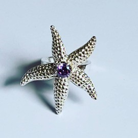 Handmade ring in Ag925 silver and SeaTreat amethyst