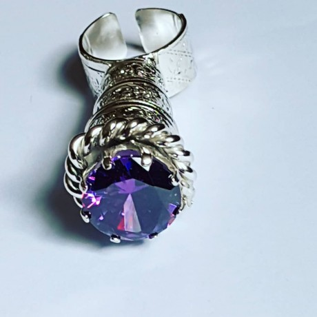 LARGE ring handmade entirely in solid Ag925 silver and MagicTemple amethyst, Bijuterii de argint lucrate manual, handmade