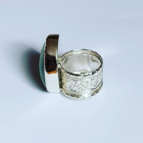 Ring made entirely by hand in solid Ag925 silver and natural pre-embellished Absynthum, Bijuterii de argint lucrate manual, handmade