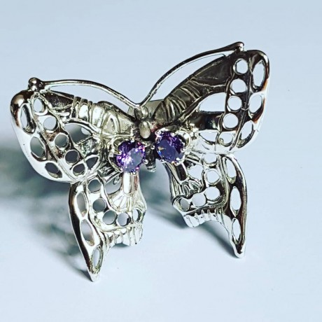 Ring made entirely by hand in Ag925 silver and amethyst ButterBabe, Bijuterii de argint lucrate manual, handmade