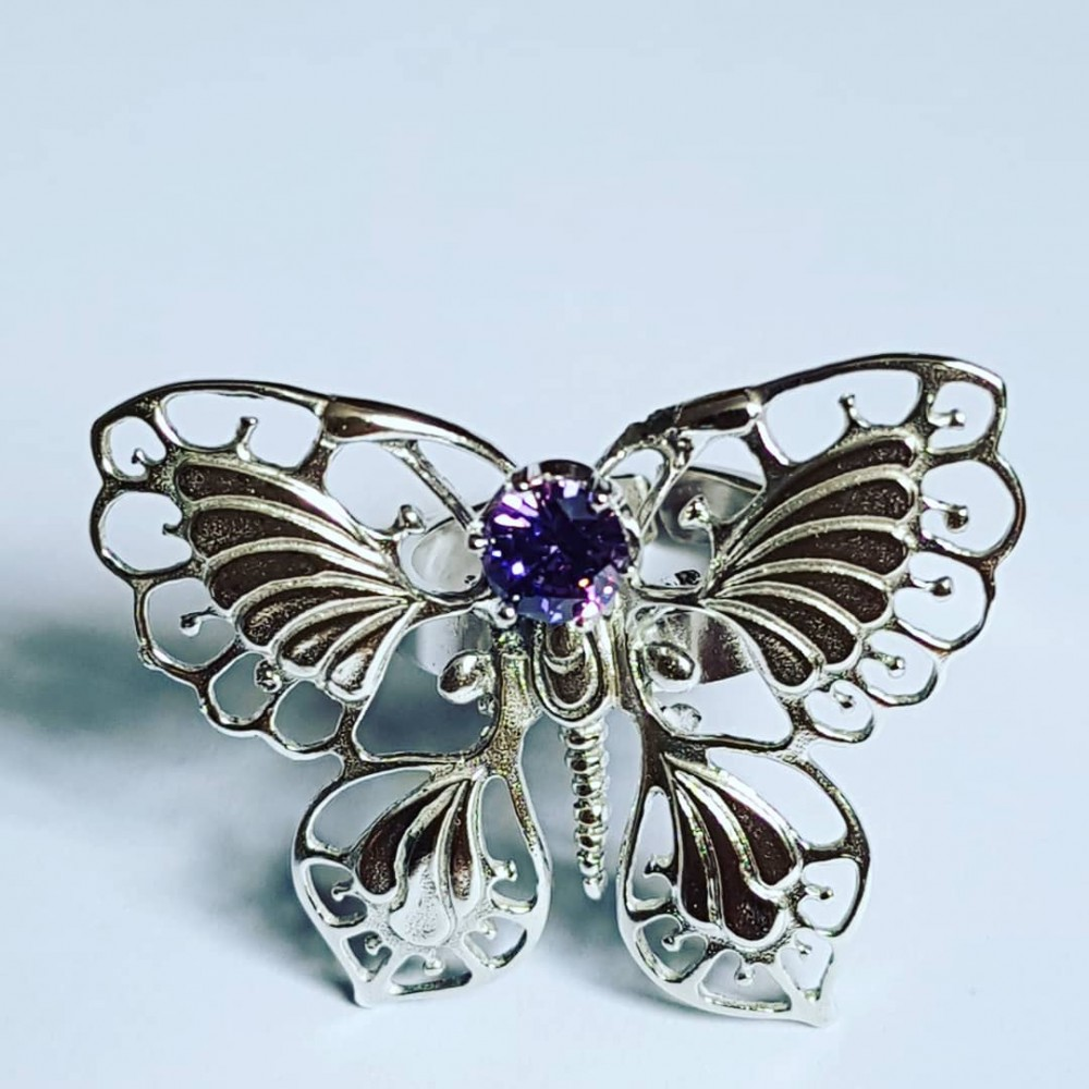 Ring made entirely by hand in Ag925 silver and amethyst ButterBabe