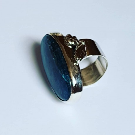 Ring made entirely by hand in solid Ag925 silver and natural apatite BluePond, Bijuterii de argint lucrate manual, handmade