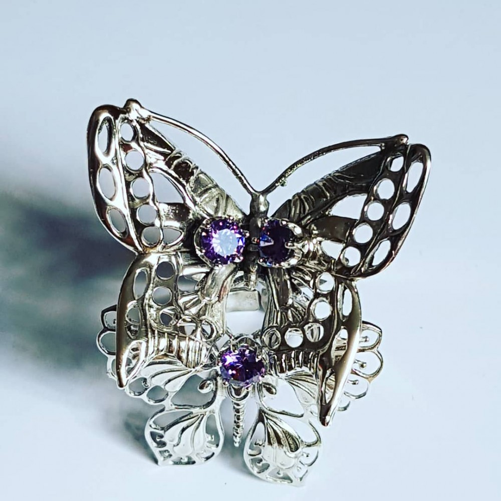 Handmade ring in solid Ag925 silver and amethyst Flowers & Buggies