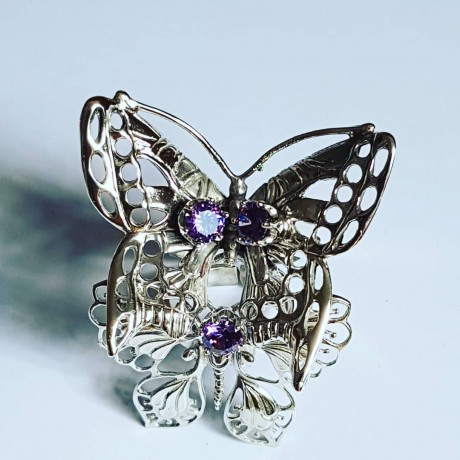 Handmade ring in solid Ag925 silver and amethyst Flowers & Buggies, Bijuterii de argint lucrate manual, handmade