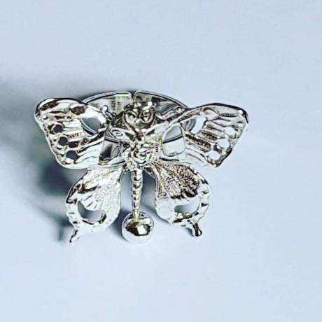 Handmade ring in silver Ag925 Roses & Butterflies, Bijuterii de argint lucrate manual, handmade