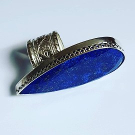 LARGE ring made entirely by hand in solid Ag925 silver and natural lapis lazuli BluestLaguna