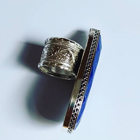 LARGE ring made entirely by hand in solid Ag925 silver and natural lapis lazuli BluestLaguna, Bijuterii de argint lucrate manual, handmade