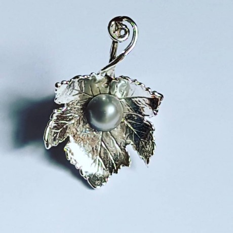 Handmade ring in solid Ag925 silver and cultured pearl Leafy musicality, Bijuterii de argint lucrate manual, handmade