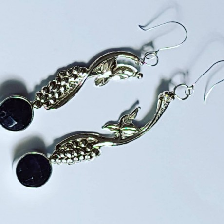 Handmade earrings in Ag925 silver and natural amethyst Vineards Dangles, Bijuterii de argint lucrate manual, handmade