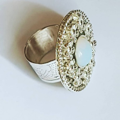 Ring made entirely by hand in solid Ag925 silver and opal BedofFlowers, Bijuterii de argint lucrate manual, handmade