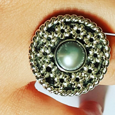 Handmade ring in solid Ag925 silver and Flowerbed cultured pearl, Bijuterii de argint lucrate manual, handmade
