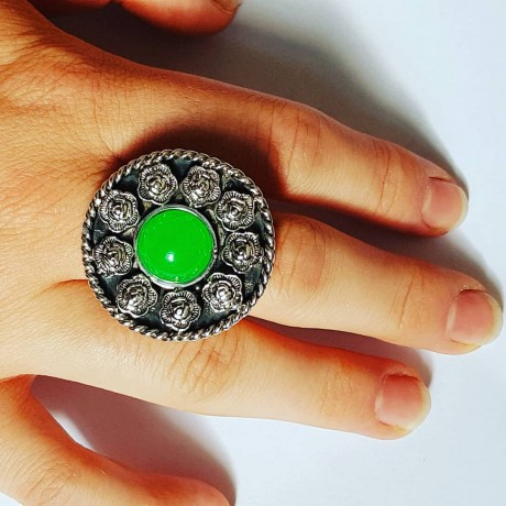 Ring made entirely by hand in solid Ag925 silver and green hanger, Bijuterii de argint lucrate manual, handmade