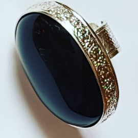 LARGE handmade ring in hand-engraved Ag925 silver and Obsidian natural rainbow Myriad Sheen