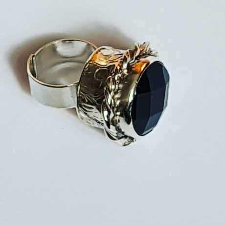 Handmade ring in solid Ag925 silver and Noblehood faceted onyx, Bijuterii de argint lucrate manual, handmade