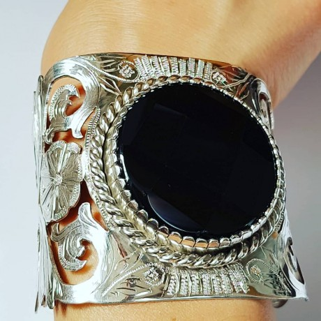 Bracelet made entirely by hand in solid Ag925 silver and natural black onyx Black & White, Bijuterii de argint lucrate manual, handmade