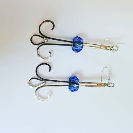 Sterling silver earrings and Swarovski crystals SkyBough, Bijuterii de argint lucrate manual, handmade
