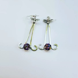 Sterling silver earrings and amethysts SturdyFemme, Bijuterii de argint lucrate manual, handmade