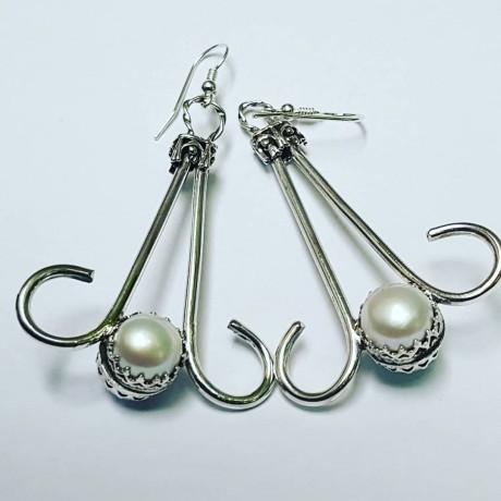 Sterling silver earrings and pearls Double Serving of Pearls, Bijuterii de argint lucrate manual, handmade