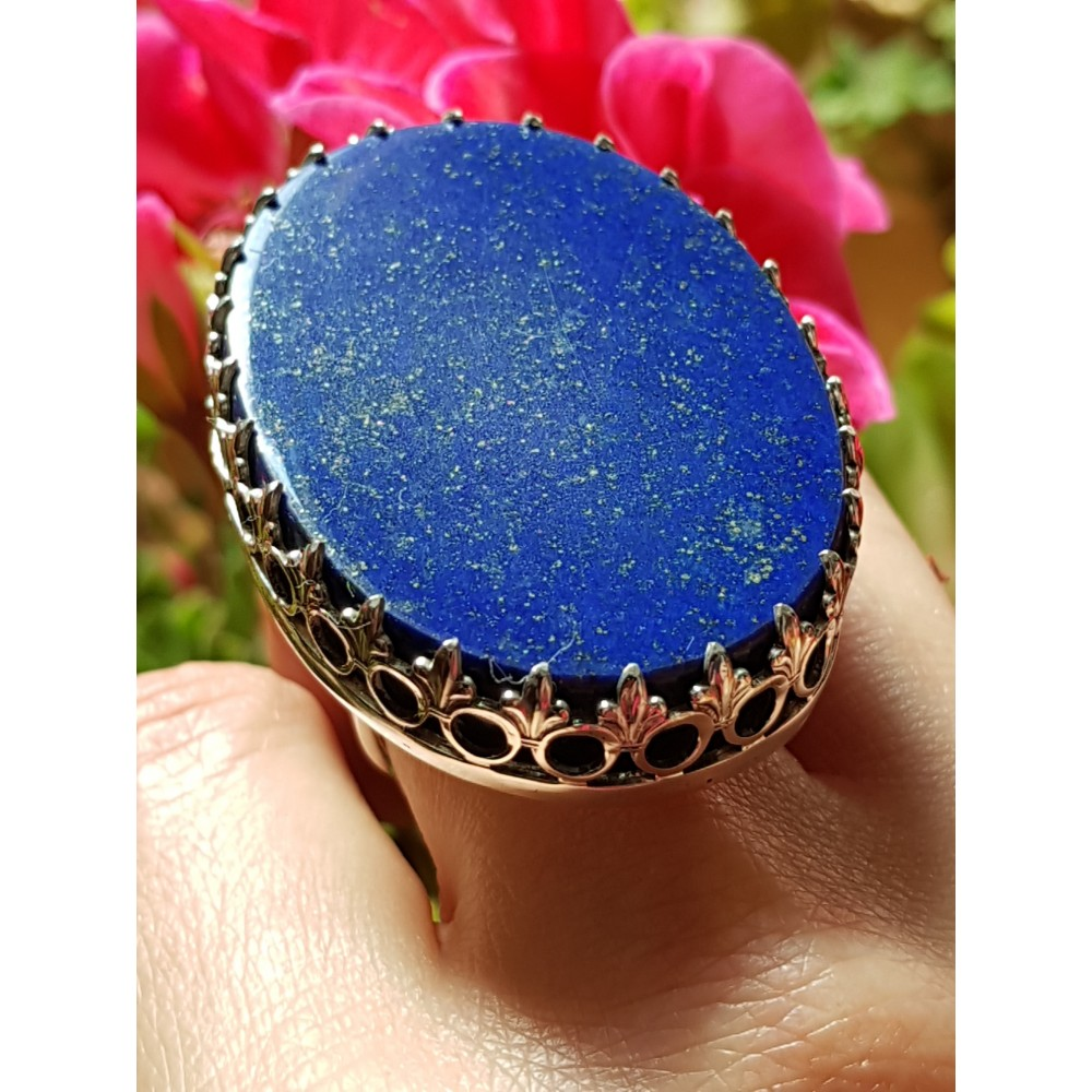 Large Sterling Silver ring with natural lapislazuli BlueDive