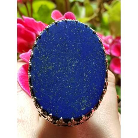 Large Sterling Silver ring with natural lapislazuli BlueDive, Bijuterii de argint lucrate manual, handmade