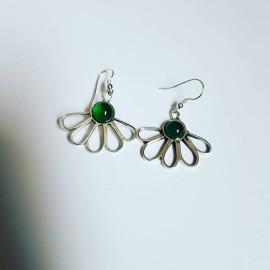Sterling silver earrings and agates Greenchic, Bijuterii de argint lucrate manual, handmade