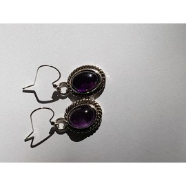 Sterling silver earrings & amethyst OvalMe, Bijuterii de argint lucrate manual, handmade