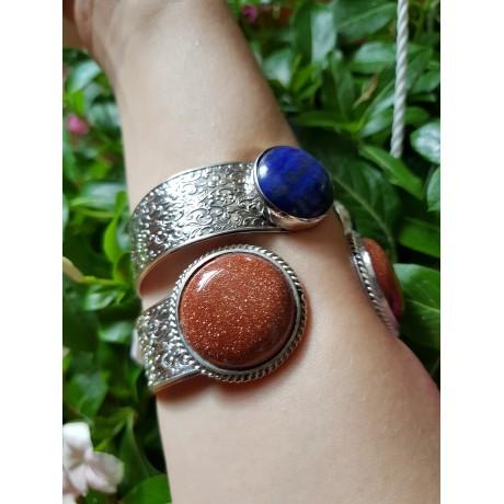 Sterling silver cuff and sunstones SunBlast, Bijuterii de argint lucrate manual, handmade