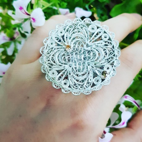 Sterling silver ring and citrines Love&Lunacy, A Study in Filigree, Bijuterii de argint lucrate manual, handmade