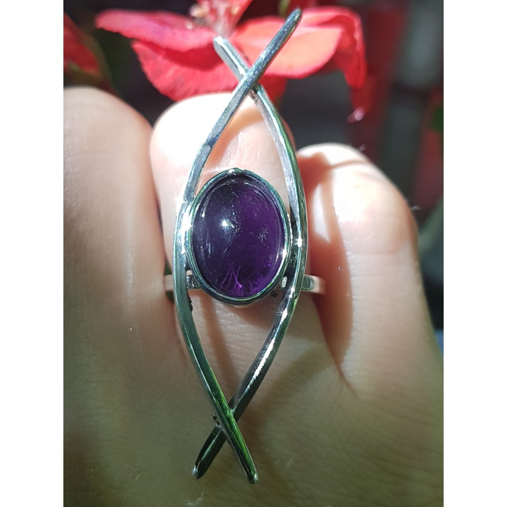 Sterling silver ring and natural amethyst