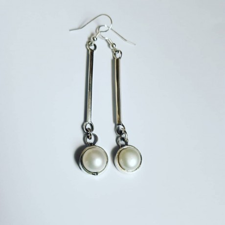 Sterling silver earrings and pearls White Trims, Bijuterii de argint lucrate manual, handmade