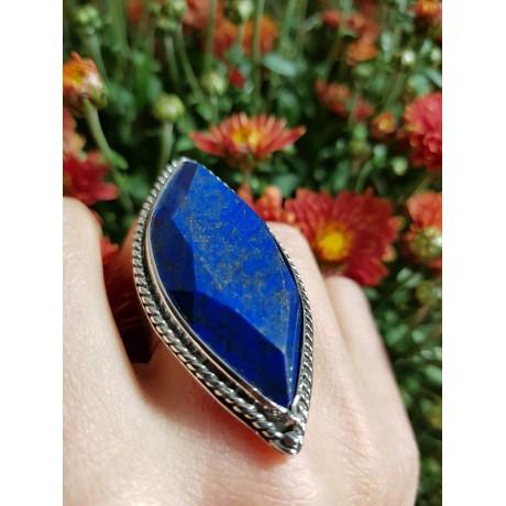 Sterling silver ring with natural lapislazuli Patch of Blue, Bijuterii de argint lucrate manual, handmade