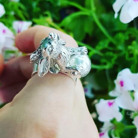 Sterlingsilver ring Hare vs Hound, Bijuterii de argint lucrate manual, handmade