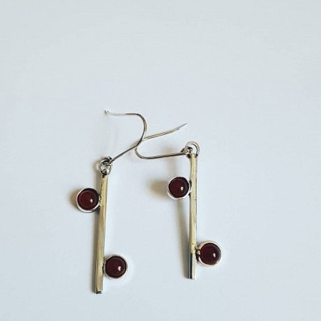 Sterling silver earrings and carnelian RedSpur, Bijuterii de argint lucrate manual, handmade