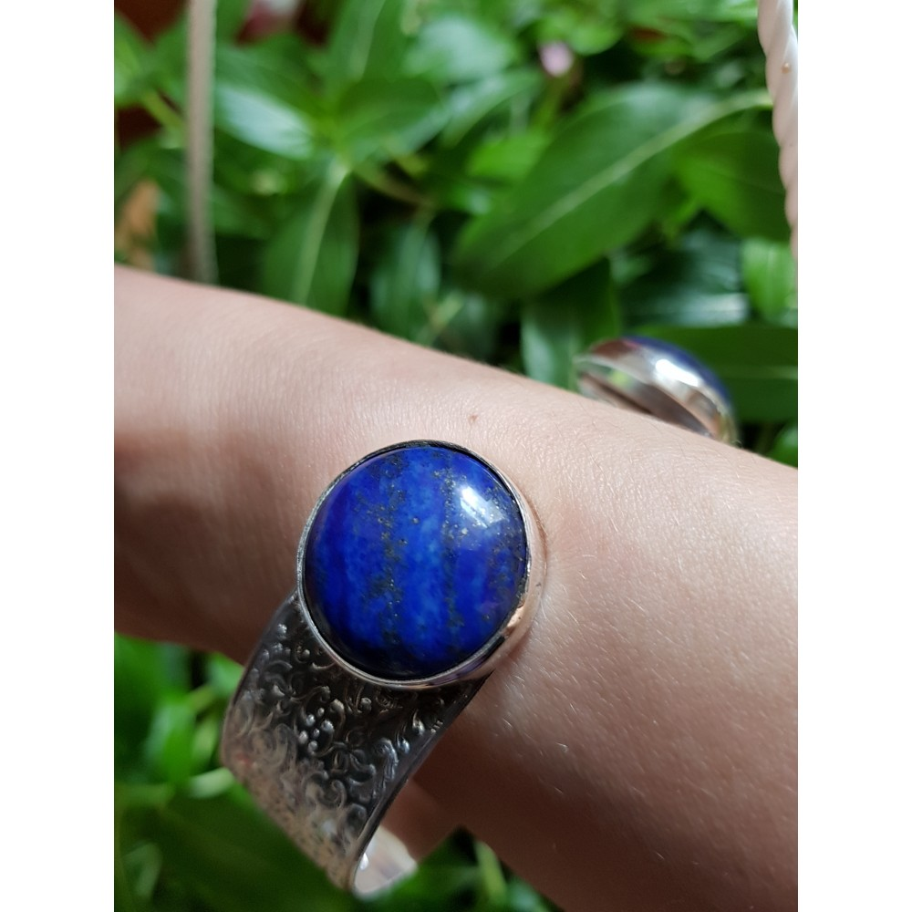 Sterling silver cuff and natural lapislazuli On a Blue Rampage