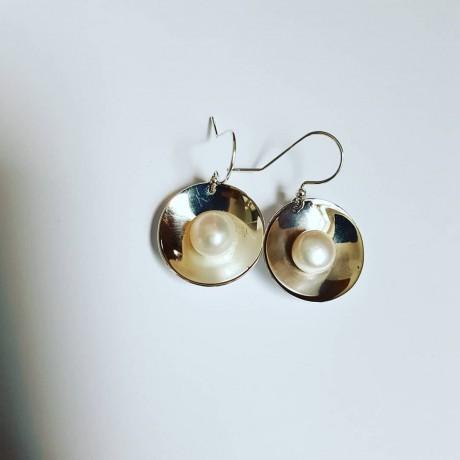 Sterling silver earrings and pearls, Bijuterii de argint lucrate manual, handmade