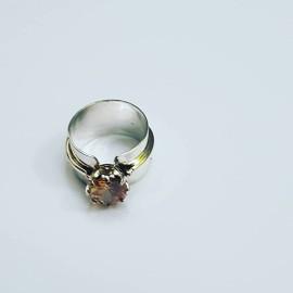 Sterling silver engagement ring brown stone, Bijuterii de argint lucrate manual, handmade