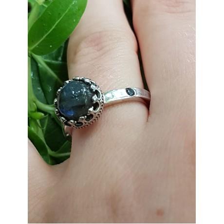 Sterling silver ring ag925 with natural labradorite, Bijuterii de argint lucrate manual, handmade