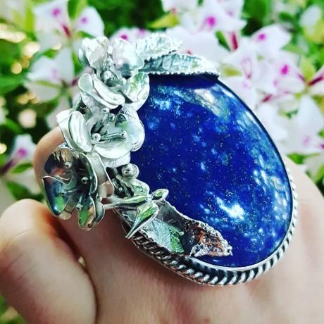 Sterling silver ring with natural lapislazuli Blue Anxiety, Bijuterii de argint lucrate manual, handmade