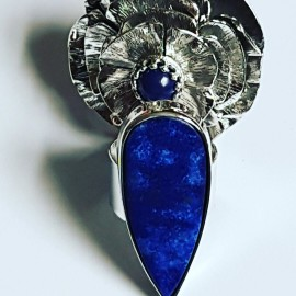 Sterling silver ring with natural lapislazuli Blue Speech
