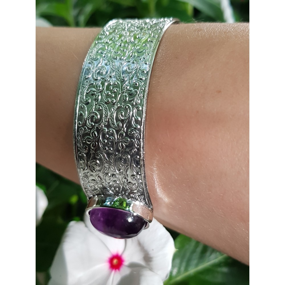 Sterling silver cuff and natural amethyst stones Soulful Summer