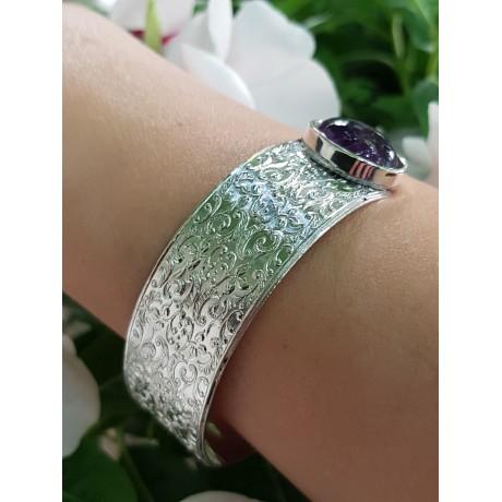Sterling silver cuff and natural amethyst stones Soulful Summer, Bijuterii de argint lucrate manual, handmade