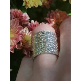 Sterling silver ring and 14kgold SunSpin, Bijuterii de argint lucrate manual, handmade