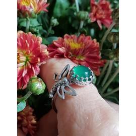 Sterling silver ring with natural agate stone Dragonflies feedonGreen, Bijuterii de argint lucrate manual, handmade
