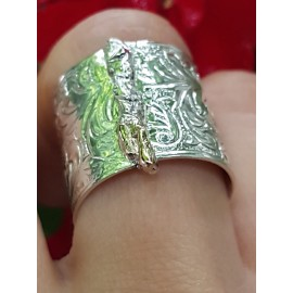 Sterling silver ring and gold Love Syndrome