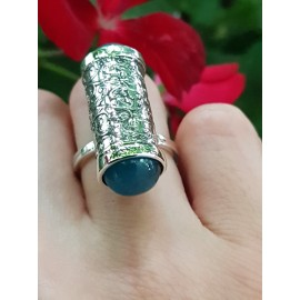 Sterling silver ring with natural aquamarine stones Come Aboard
