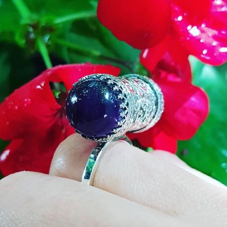 Sterling silver ring with natural amethyst stone Purple, Please, Bijuterii de argint lucrate manual, handmade