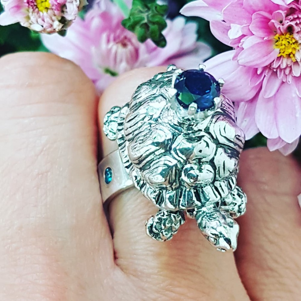 Sterling silver ring Blues & Turtles