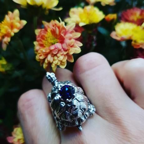 Sterling silver ring Blues & Turtles, Bijuterii de argint lucrate manual, handmade