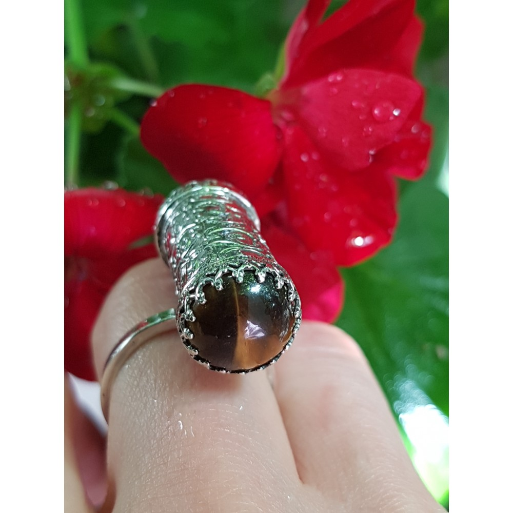 Sterling silver ring with natural tiger's eye stone TigerCrush