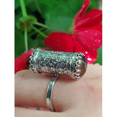 Sterling silver ring with natural tiger's eye stone TigerCrush , Bijuterii de argint lucrate manual, handmade